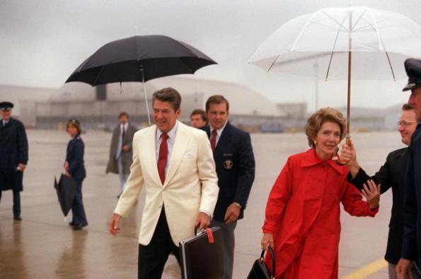 President Reagan in the rain